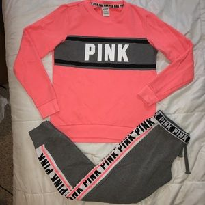 Victoria's Secret Pink Sweatsuit Set Crewneck